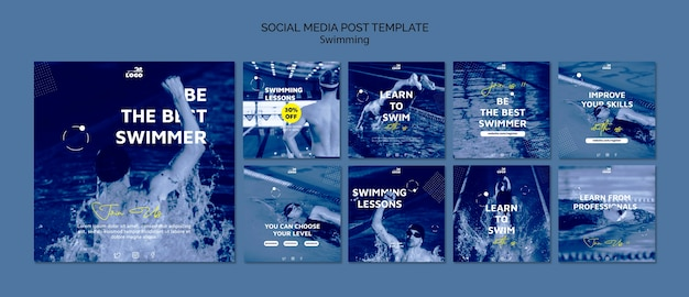 Swimming lessons social media posts template Free Psd
