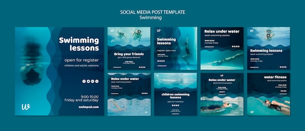 Swimming lessons social media posts templates Free Psd