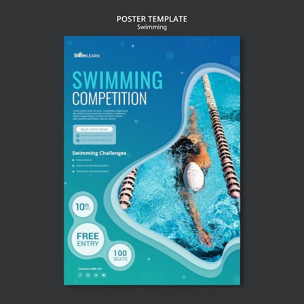 사진과 함께 수영 포스터 템플릿 무료 PSD 파일