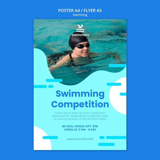 Swimming poster template Free Psd