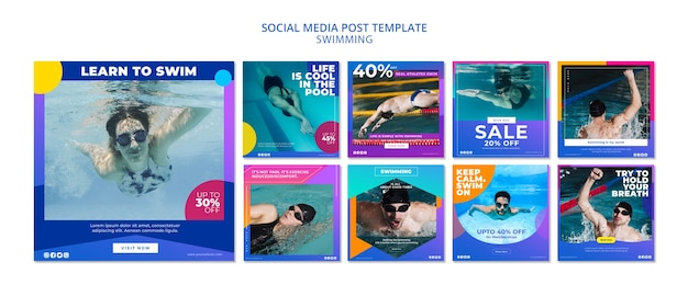 Swimming social media post collection Free Psd
