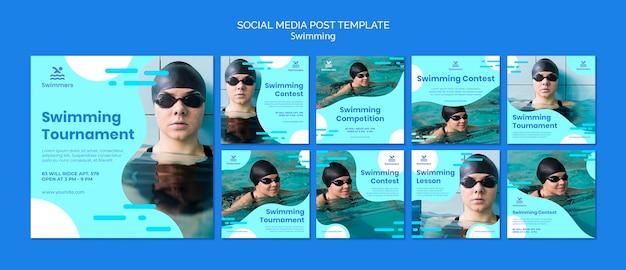 水泳ソーシャルメディアの投稿テンプレート 無料 Psd