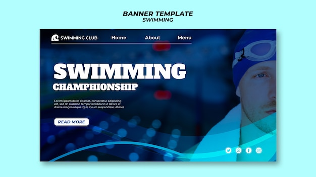 Swimming template for banner design Free Psd