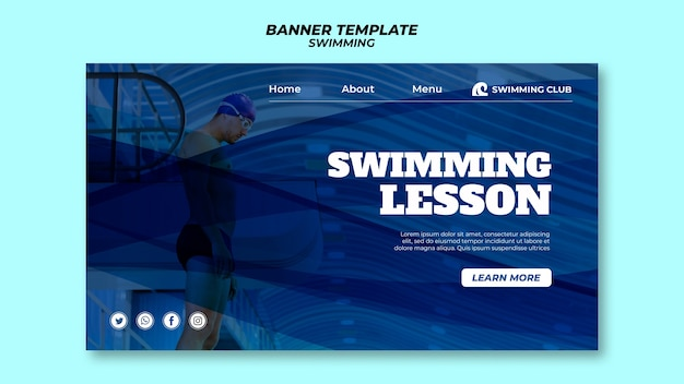 Swimming template for banner theme Free Psd