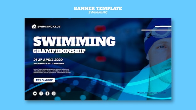 Swimming template for banner Free Psd
