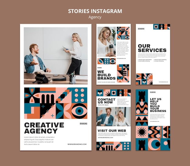 Swiss design instagram stories set Free Psd