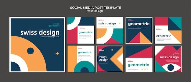 Сообщения в социальных сетях, посвященные швейцарскому дизайну Бесплатные Psd