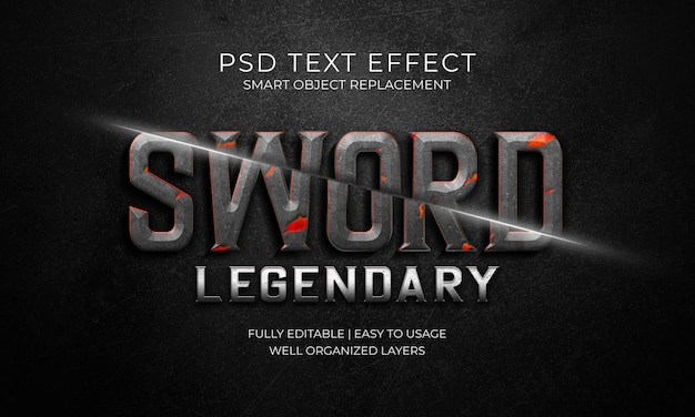칼 전설적인 텍스트 효과 템플릿 프리미엄 PSD 파일