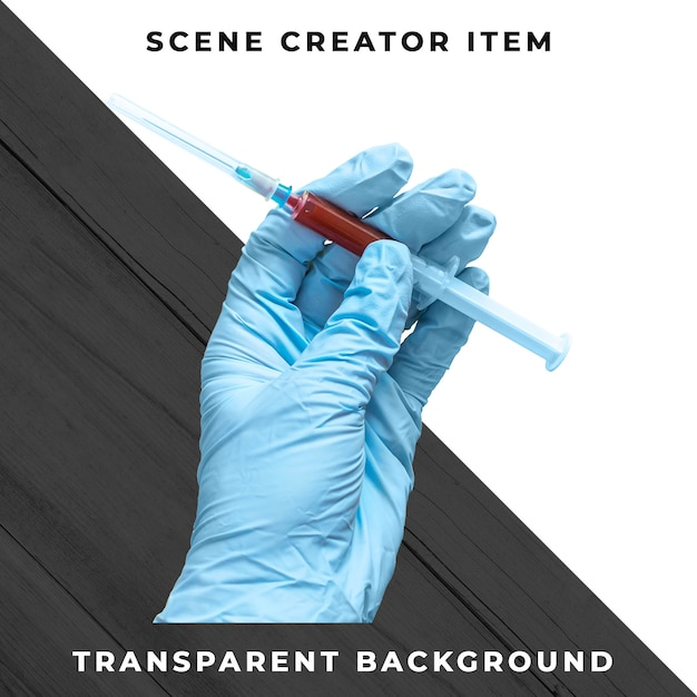 Syringe in hand isolated with clipping path Premium Psd