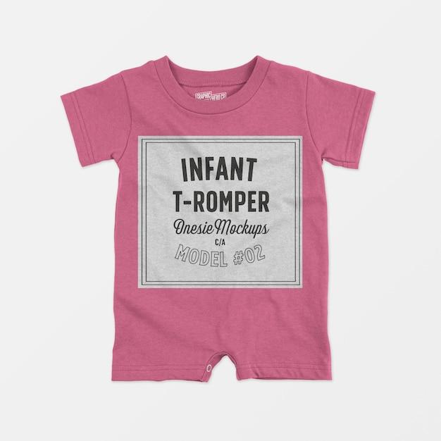 幼児tロンパースワンシーモックアップ02 無料 Psd