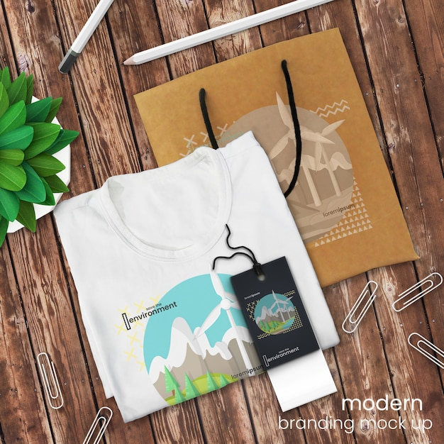 T shirt logo mockup and shopping bag mockup on rustic wooden table with sales tag and decor, psd mock up Premium Psd