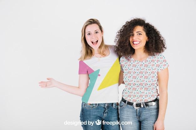 T shirt mockup with happy women Free Psd