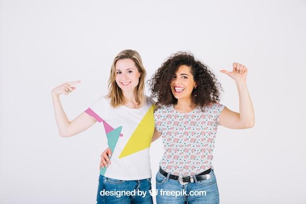 T shirt mockup with women Free Psd