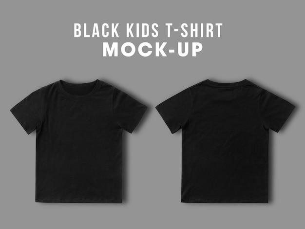空白の黒い子供tシャツは、デザイン、前面と背面のテンプレートのモックアップ Premium Psd