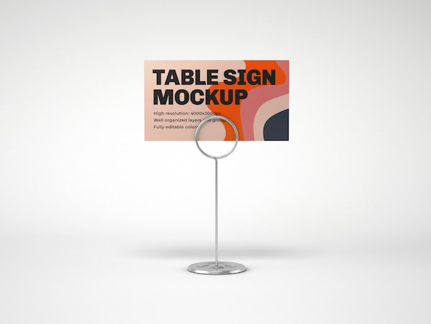 Table sign with metallic holder mockup Premium Psd