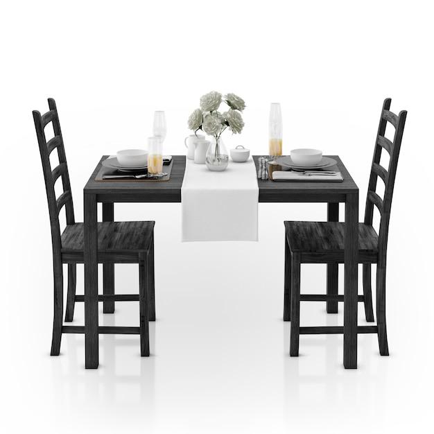 Стол со скатертью, посудой и стульями Бесплатные Psd