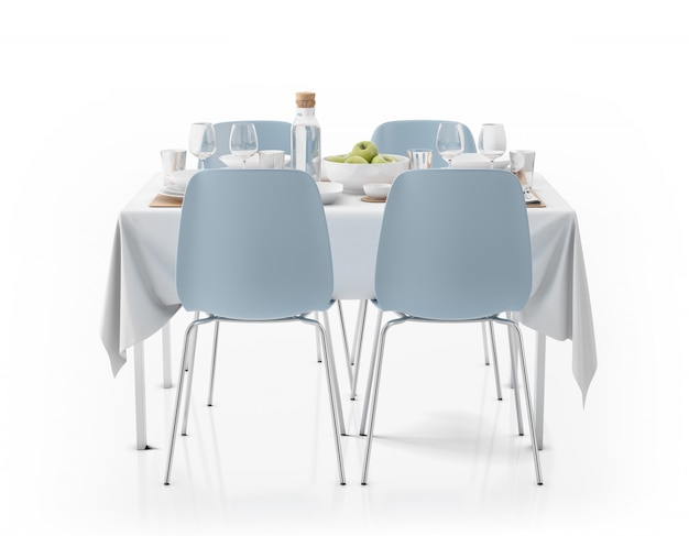 Table with tablecloth, dishware and chairs Free Psd