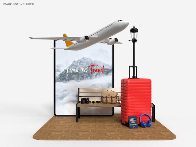 旅行者と飛行機のアクセサリーのモックアップとタブレットとスーツケース Premium Psd