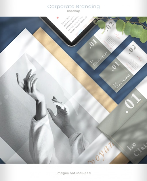잎 그림자 오버레이와 태블릿 이랑 및 기업 브랜딩 이랑 프리미엄 PSD 파일