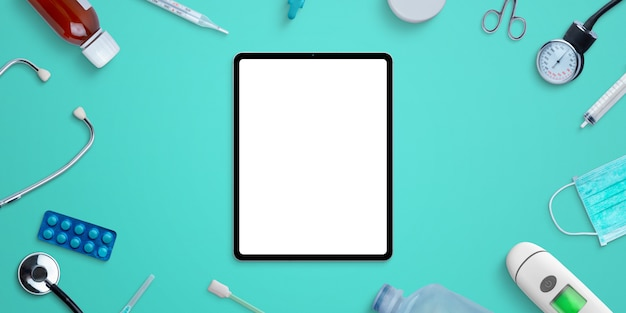 Tablet mockup on hospital desk surrounded by medical equipment and medicines. photoshop psd scene creator with separated layers Premium Psd