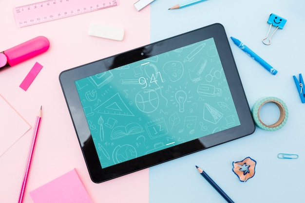 Tablet Mockup With Back To School Concept Psd File Free Download