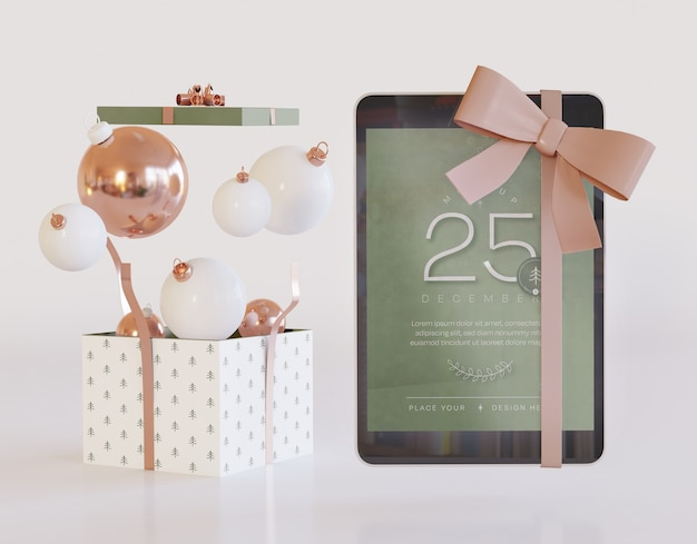 Tablet mockup with christmas decoration Premium Psd