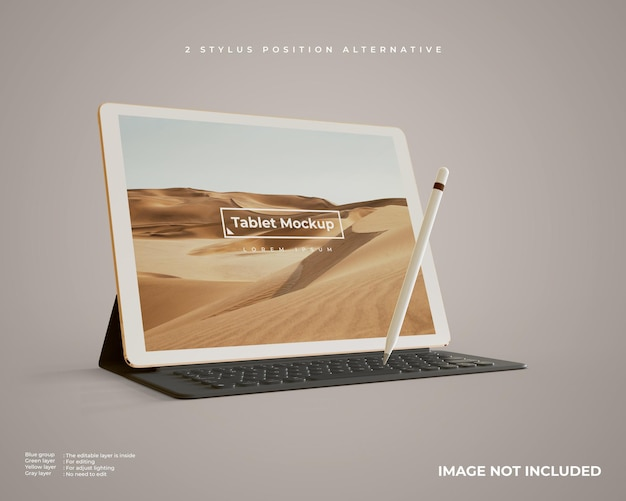 Tablet mockup with stylus and keyboard looks left view Premium Psd