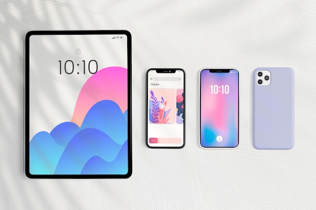 Tablet and phone screen mockup digital device Free Psd
