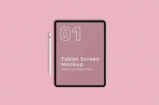 Tablet screen mockup and pencil top angle view Premium Psd