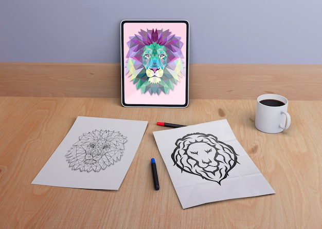 Tablet and sheets with snake design Free Psd