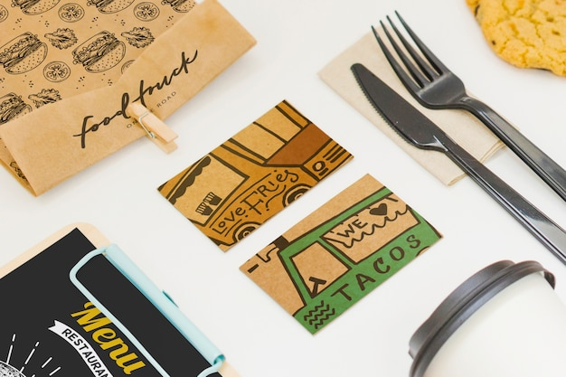 Take away food mockup with various objects Free Psd