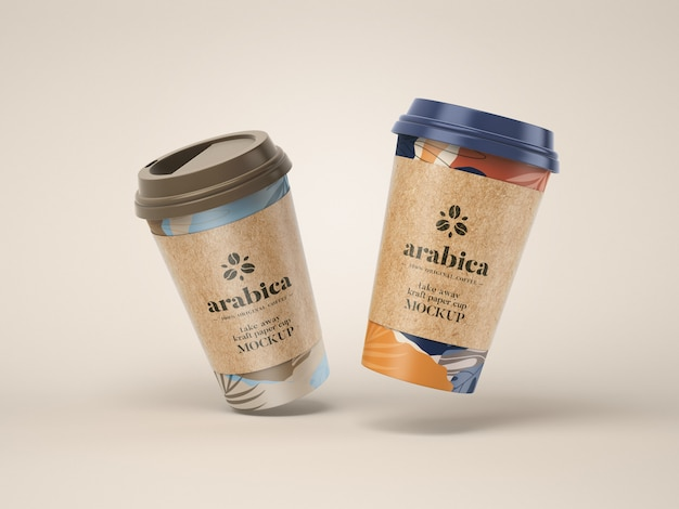 Take away бумажный кофейный кубок макет Premium Psd