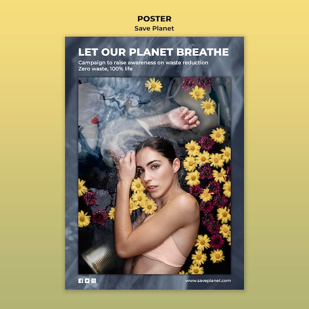 Take care of the earth poster template Free Psd