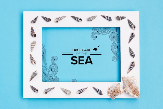 Take care of the ocean with frame Free Psd