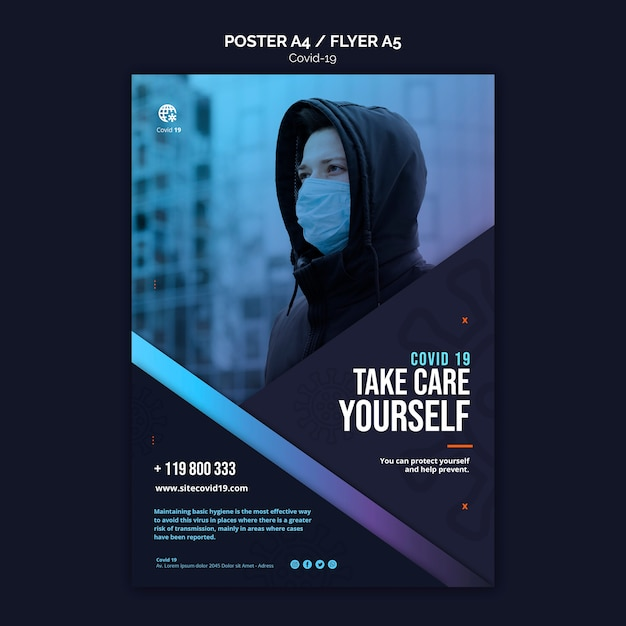 Take care of yourself poster template Free Psd
