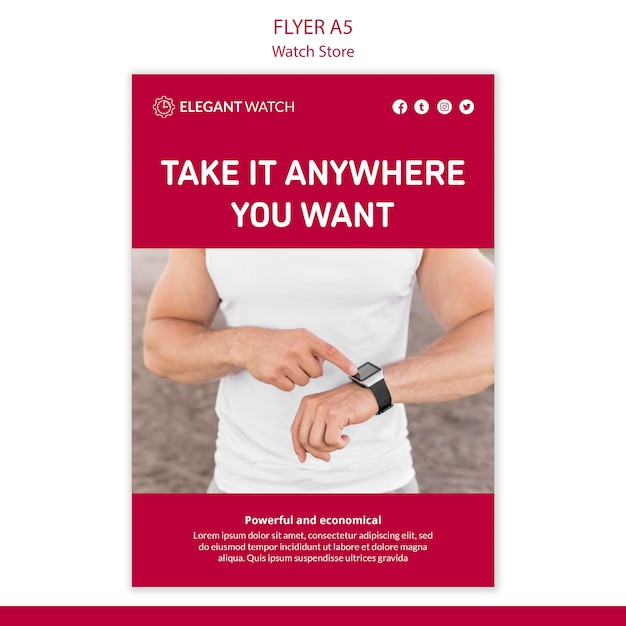 Take it anywhere watch store poster template Free Psd