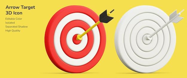 Стрелка цели стрелка 3d дизайн макет значка актива Premium Psd