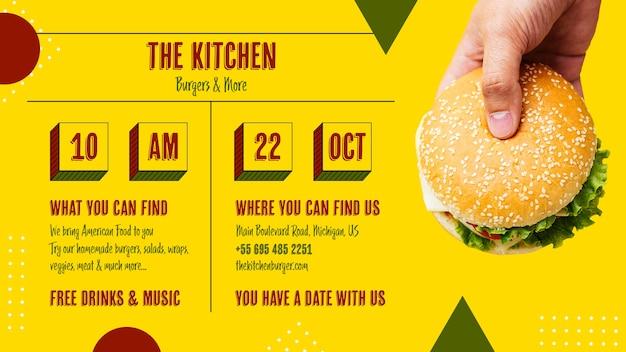 Tasty american burger kitchen menu Free Psd