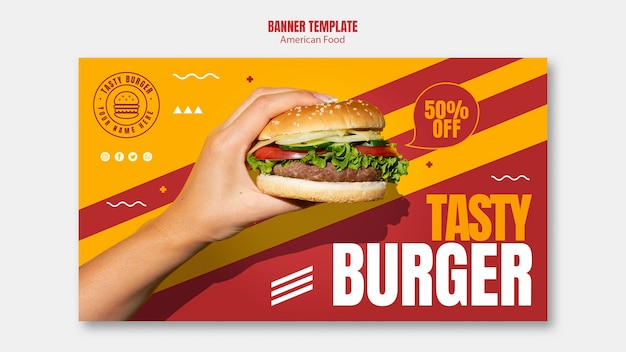 Tasty burger american food banner template Free Psd