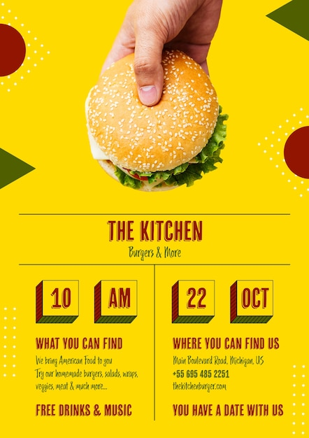 Tasty burger bun with seeds template Free Psd