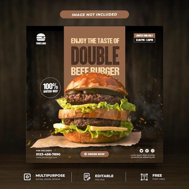 Tasty burger promotion social media template Premium Psd