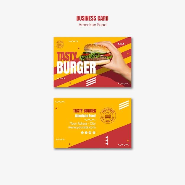 Tasty cheeseburger american food business card Free Psd