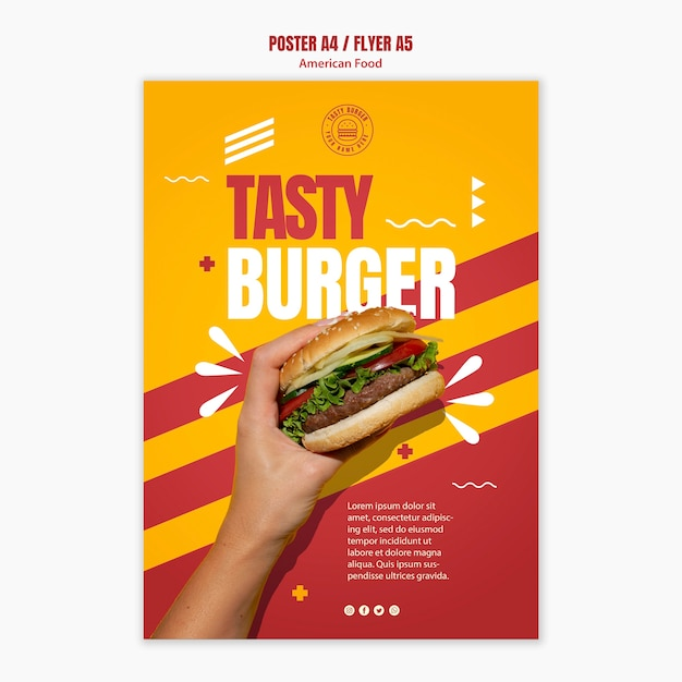 Tasty cheeseburger american food poster template Free Psd