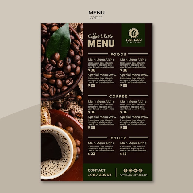 Вкусный шаблон меню кофе Бесплатные Psd