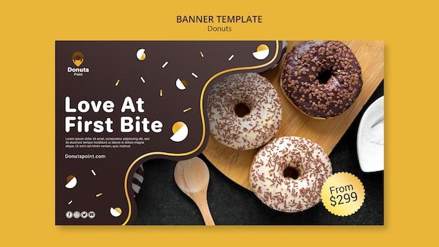 Шаблон баннера вкусные пончики Бесплатные Psd