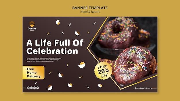 맛있는 도넛 가로 배너 서식 파일 무료 PSD 파일