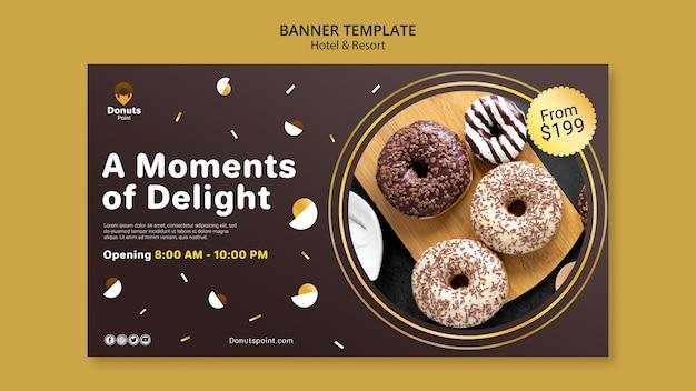 맛있는 도넛 가로 배너 무료 PSD 파일