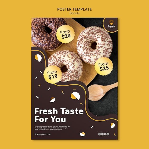 Шаблон плаката вкусные пончики Бесплатные Psd