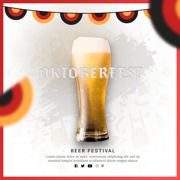 Вкусный бокал пива с разноцветными флагами Бесплатные Psd