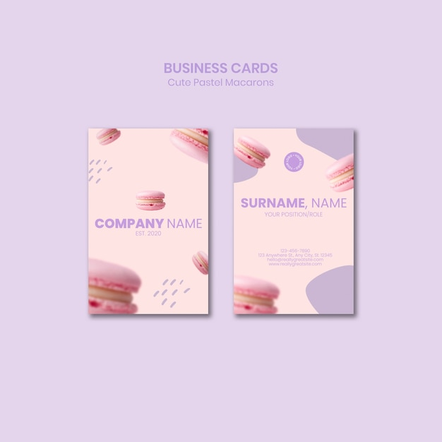 Tasty macarons business cards template Free Psd